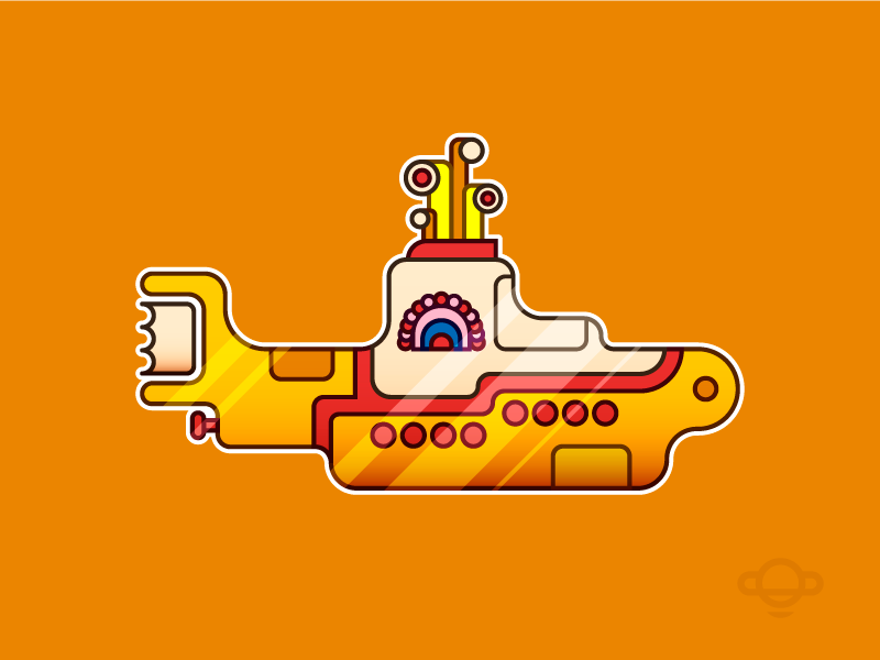 Badge Design - Yellow Submarine song logo vector movie illustration branding badge beatles