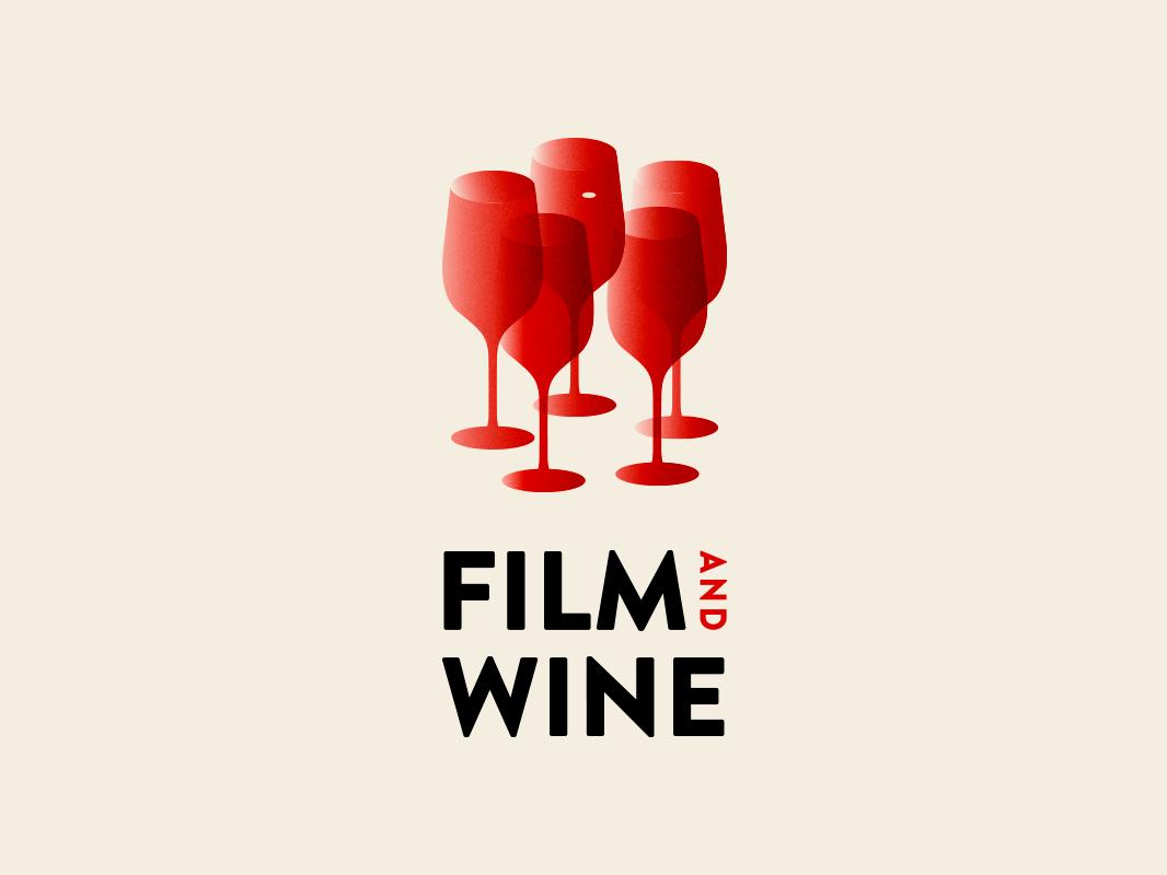 Film & Wine transparency gradient tasting wine cinema film logo