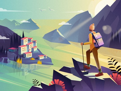 Mountain and sea travel hike mountaineering explore comfortable beauty view quiet design sun rise sunny illustration sea mountain