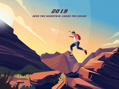 2019 Over the moutain,Cross the divide sunny jump moutains design illustration 2019