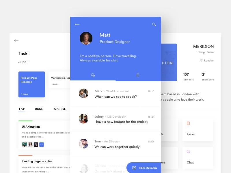 Team - Tasks & Chat minimal blue white discover ui mobile ios task chat team