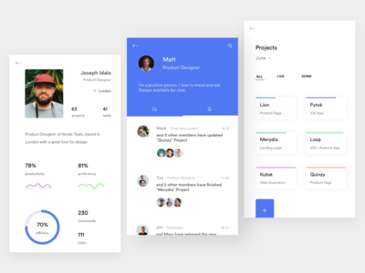 Team - Member Profile & Projects notification member white ui team project mobile minimal ios discover profile blue