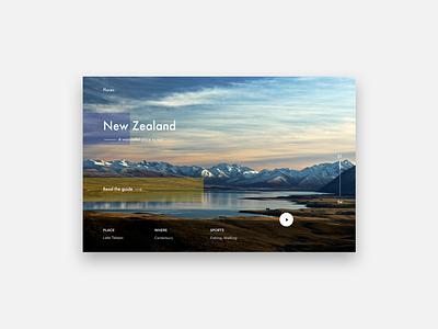 Places explore play newzealand web design landing white minimal ui web places
