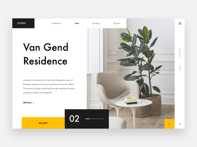 Van Gend Residence landing explore yellow webdesign product minimal residence web white brown