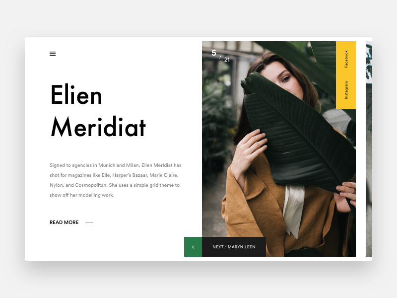 Model Agency green web yellow brown minimal explore web design landing page agency model