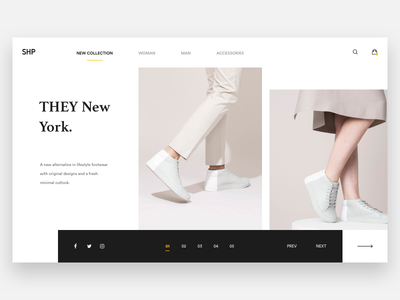 THEY. brown white web design web minimal explore shoe product e-commerce fashion