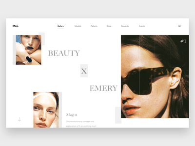 Beauty x Emery. webdesign photography model landing discover explore web white minimal