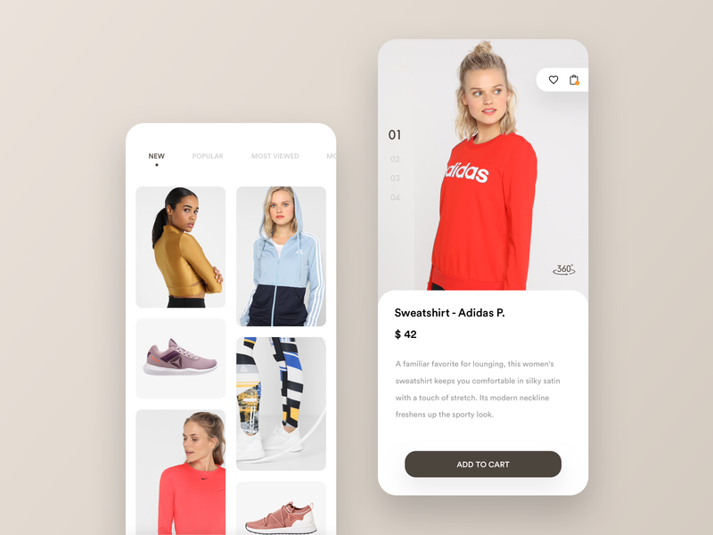 Shop app - discover and add to cart. mobile details buy discover explore clothing ui minimal app shop e-commerce