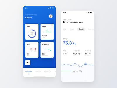 Health - Activity Tracker & Body meditation heart sleep walk activity tracker health ios ui app discover white minimal