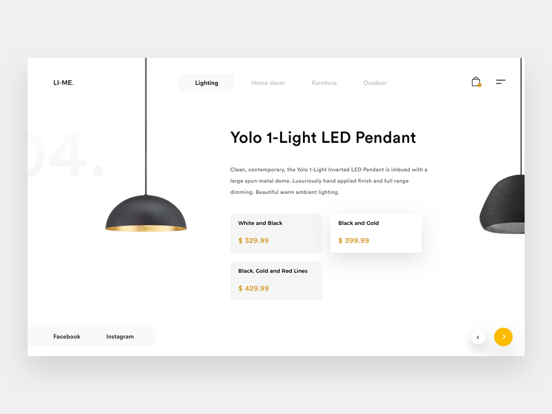 Li-Me Products discover light webdesign landing layout concept web minimal white explore product lamp