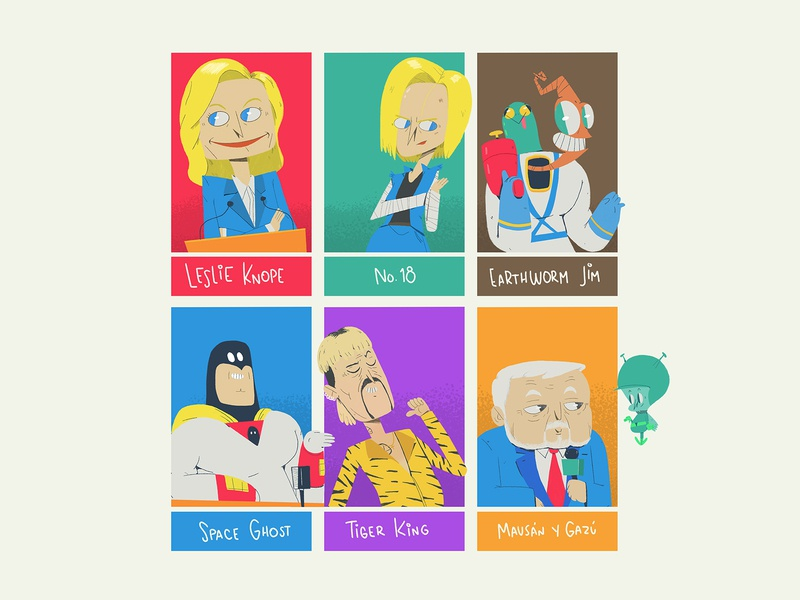 Six Fanarts mausán mausán tiger king space ghost earthworm jim dragon ball parks and rec knope illustration character 2d