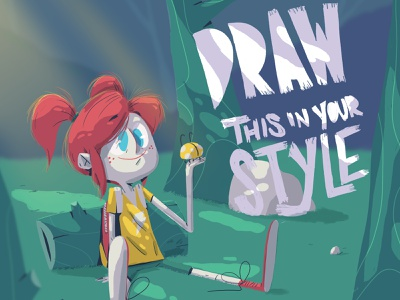 Morrita forests little girl girl drawthisinyourstyle forest yimbo illustration character 2d