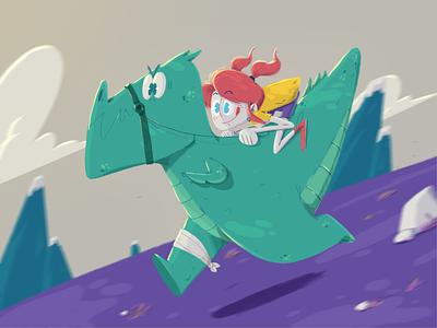 Dino Race chracter girl fast race dinosaur illustration yimbo 2d