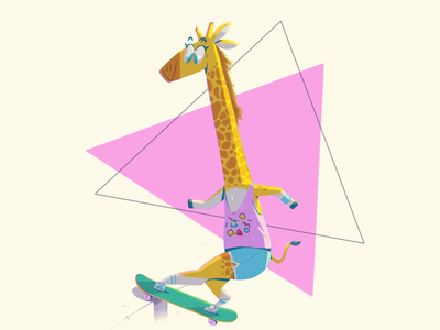 Jirafa skate animalskatepark skate jiraffe illustration yimbo character 2d
