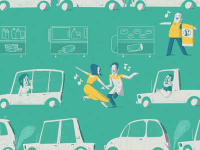 La La Lane lalaland dance traffic sddw illustration yimbo character 2d