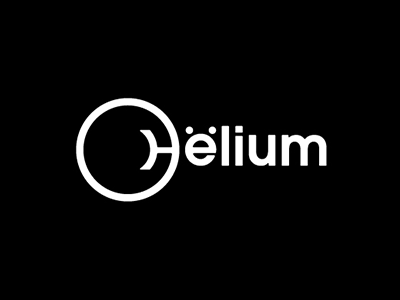 Helium graphic designer amitspro white black circle logo creative lab chemistry ions helium