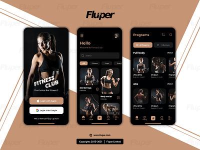 Fluper - Fitness Club Mockups fluper ux ui apps design fitness apps