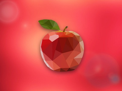 Low Poly Apple Design traingle geometry apple polygon 3d geometric low poly