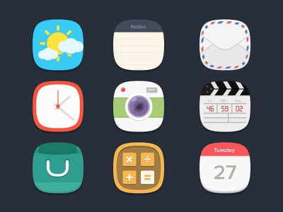 Flat Icons Freebie flat icons free psd psd freebie icons freebie icons weather icon notes icon mail icon clock icon camera icon video icon shopping icon calculator icon calender icon