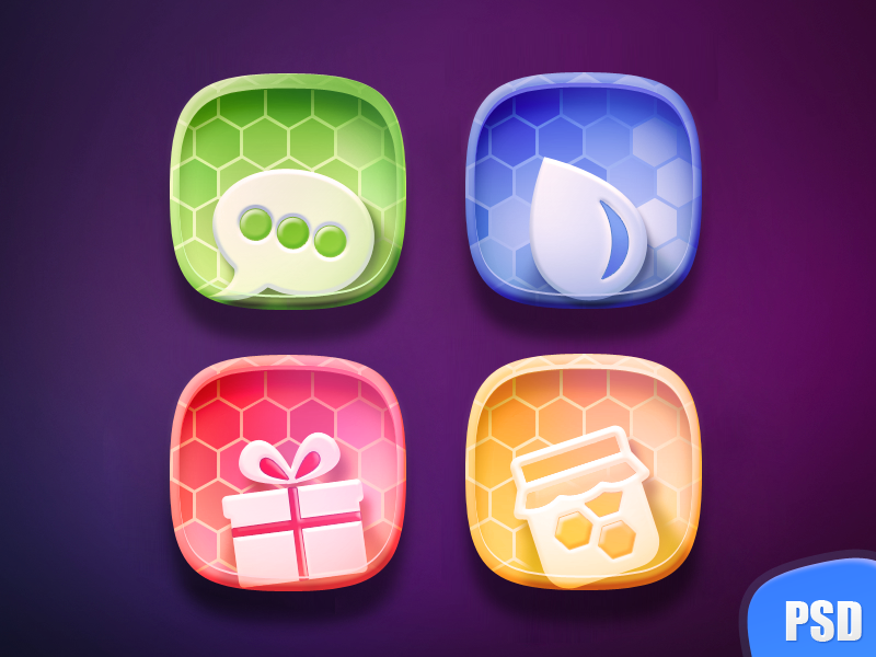 Free Colorful Icon set ( PSD ) iphone icon graphic design gift honey drop message app icon icons colorful icons psd freebie
