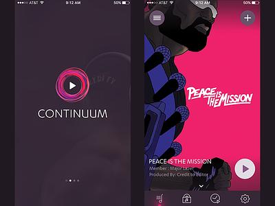 Continuum Music App ios 8 ios 9 android iphone colorful ui design app design mobile app