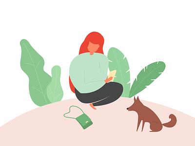 Reading - Illustration material dog girl sketch ipad google colors graphic design illustration design