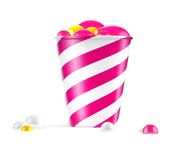 Cup With Bubbles 3d render cup can bubbles pink yellow tasty food stripes gold fun
