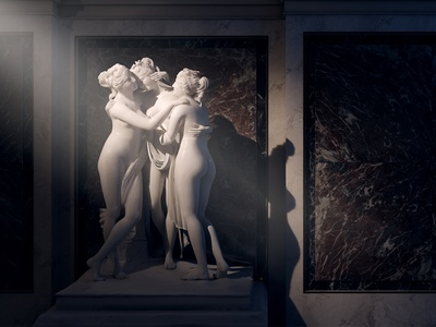 Museum of Fine Arts in Vienna 3d render interior museum game sculpture architecture