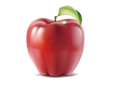 Apple apple vector leaf fruit red illustration