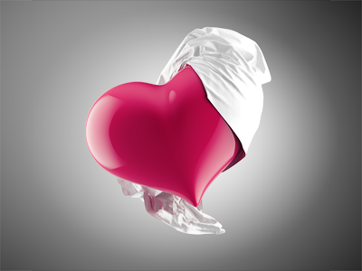 Heart  3d heart red cloth icon