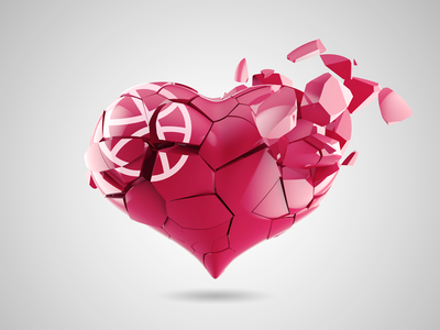 Broken Heart 3d render icon heart dribbble for fun break broken