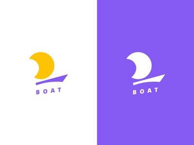 Boat logo flat minimalist purple logo boat