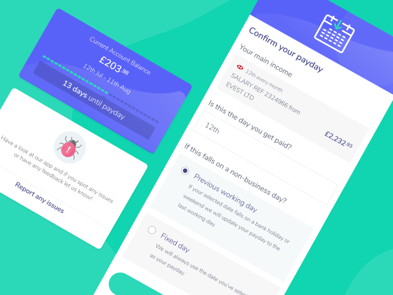 Sort your payday ios illustration ux cards ui cards widget