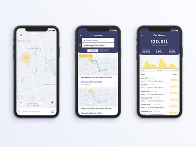 """""""Gasket"""" Shopify Design Challenge navigation uber lyft map commute ux  ui mobile app"""