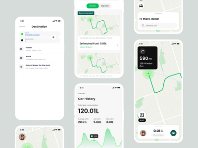 Gasket 2.0 gas lyft uber map ux  ui commute mobile app