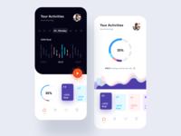 Daility App UI Kit health app care graph saas app cards charts chart homepage navigation bar health mobile app ios concept ui mobile minimal design colors clean app