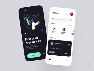 Jobeasy ― Job finder app 📌 offer dark blue job application illstration finder job mobile ui mobile app ios ui mobile minimal design colors clean app