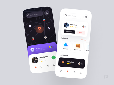 Spotu ― Remember everywhere gallery around nearby map dark concept ios mobile app ui mobile minimal design colors clean app