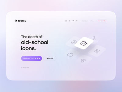 ICONLY website landing page [Light mode] 💥 icon set bold download grid stroke iconly website ux uiux ui landing icon dark colors minimal design clean