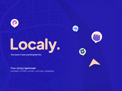 Localy — Map kit × 6 Cities in 10 Styles piqo gumoad navigation localy designkit uikit ui branding colors clean design minimal illustration present mobile app kit