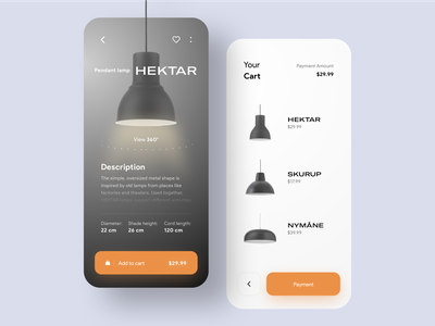 Lamp e-commerce App💡🛒 store furniture luxury checkout dark shop orange ecommerce lamp light mobile app concept ui mobile minimal ios colors clean app design