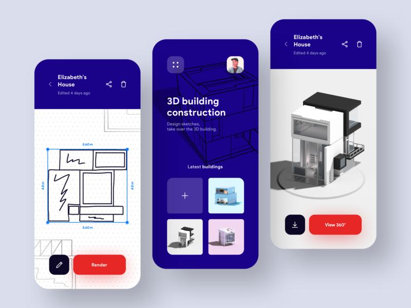 Sketch to 3D Building Model App 🏠 calculation architect blue red building design 3d model architecture render building mobile app concept ui mobile minimal ios colors clean app design