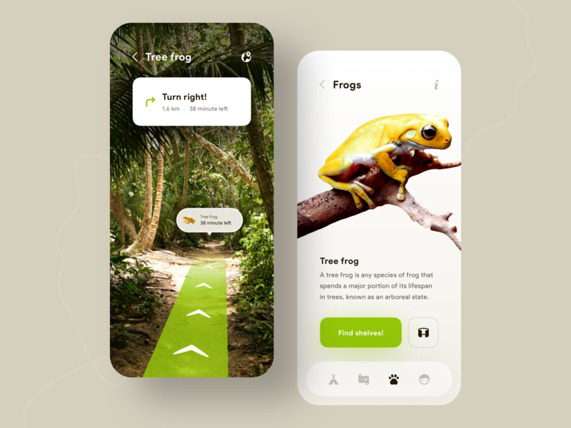 Discovering Animals App 🐸🗺 yellow green zoo ar app discover animals frog mobile app concept ui mobile minimal ios colors clean app design
