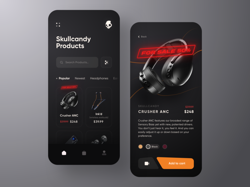 Skullcandy Online Store App 💀🎧 product page black shopping shop forsale headphone orange dark store ecommerce mobile app concept ui mobile minimal ios design colors clean app