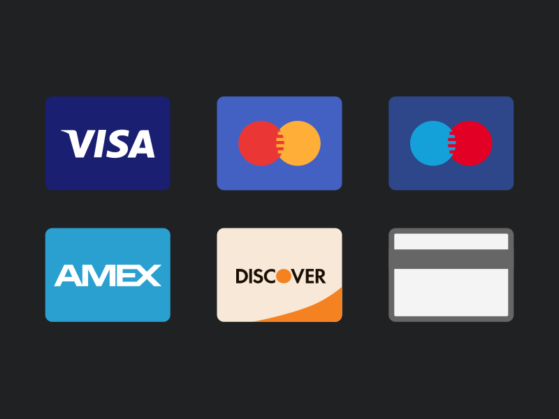 Credit Card Icons freebie generic maestro american express discover mastercard visa flat icons psd credit cards