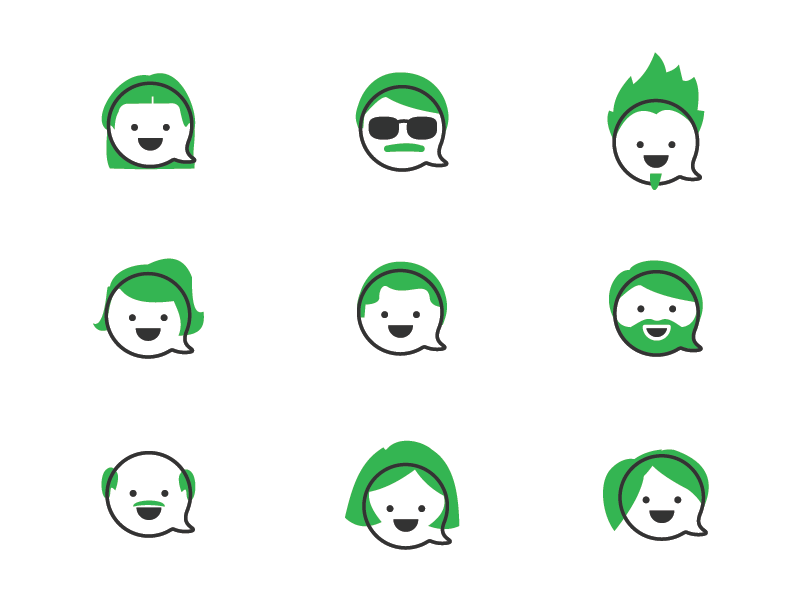 User Avatars for Flock face illustration free line funny green avatar icon user
