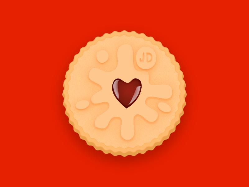 Jammie Dodger illustration food jammie dodger biscuit design stickermule uk sticker playoff