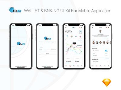FinKit - Wallet & Banking UI Kit for Mobile Application ux design ui design ux ui wallet banking finance mobile application mobile app design mobile app mobile