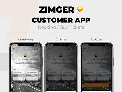 Zimger (UberBus) - Minivans & Bus booking Mobile Application app ui design ux ui booking app booking uber mobile app design mobile app mobile