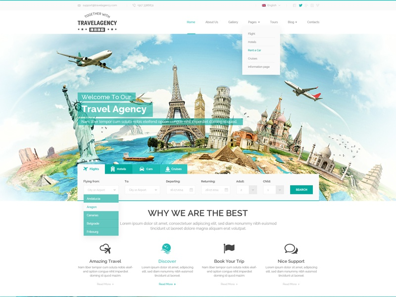 Travel Agency Bootstrap Template Website Html Templates